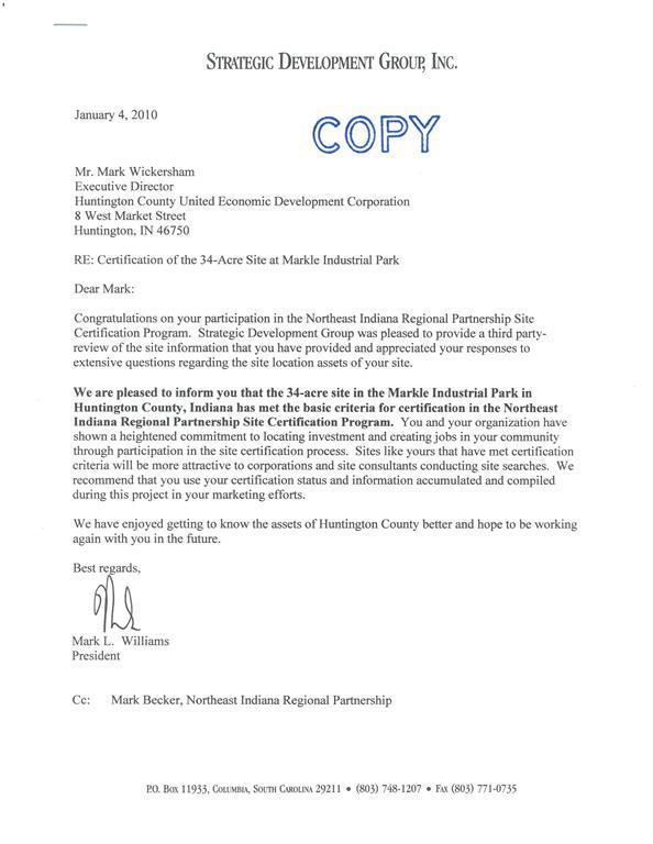 Markle Industrial Park Site Certification Letter Changeme